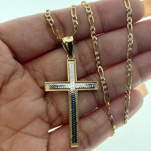 14kt gold figaro & 10kt cross necklace